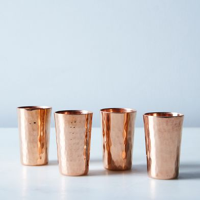 Hammered Copper Tequilero Shot Cups (Set of 4)