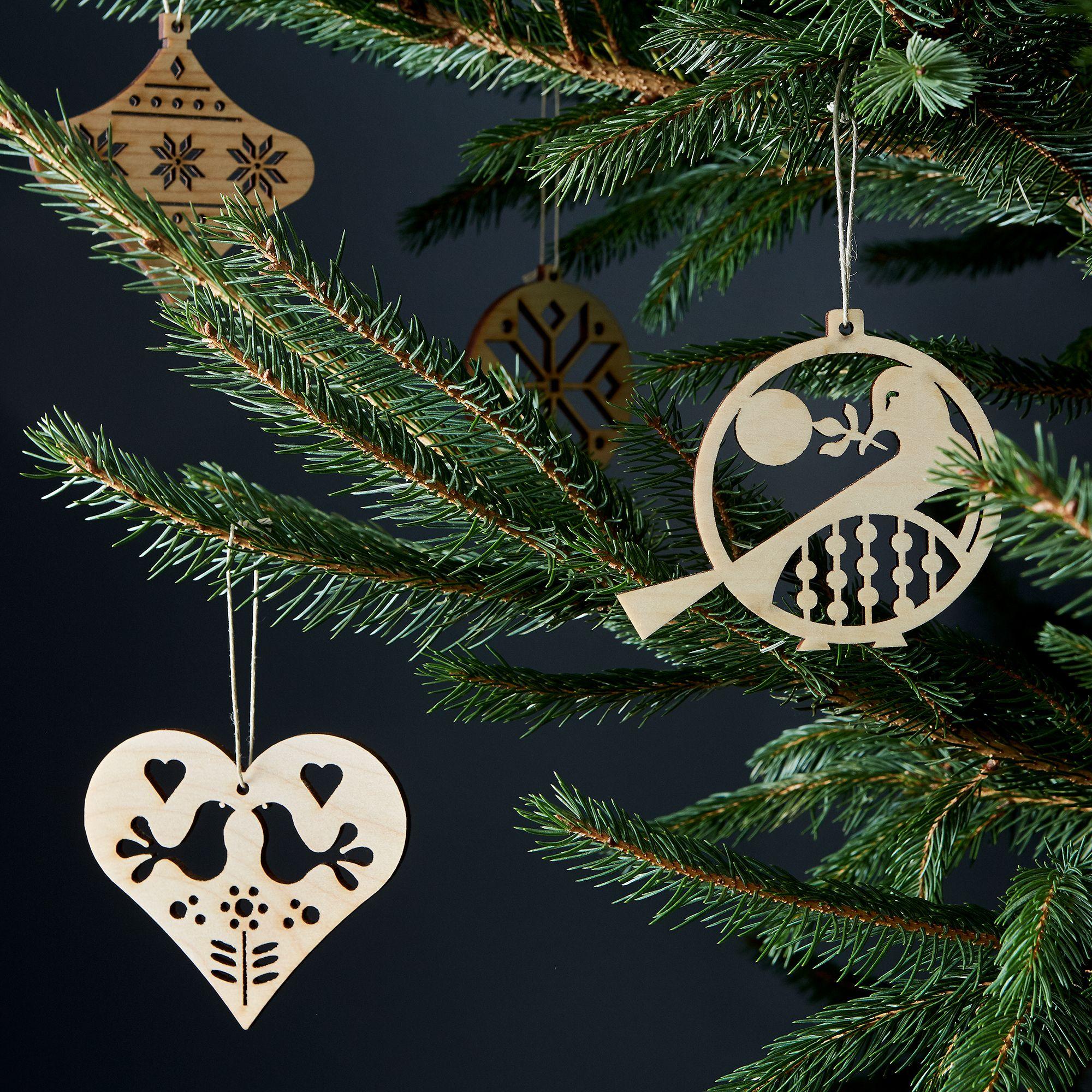 laser cut maple scandinavian ornaments on food52