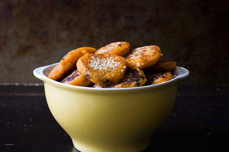Black Sesame Sweet Potato Pancakes
