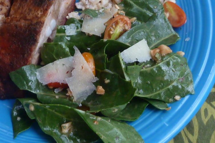 Tossed Swiss Chard Salad with Marcona Almond Dressing