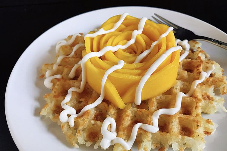 Waffled Coconut Sticky Rice with Mango
