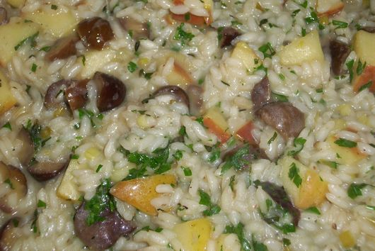 Apple and chestnut risotto