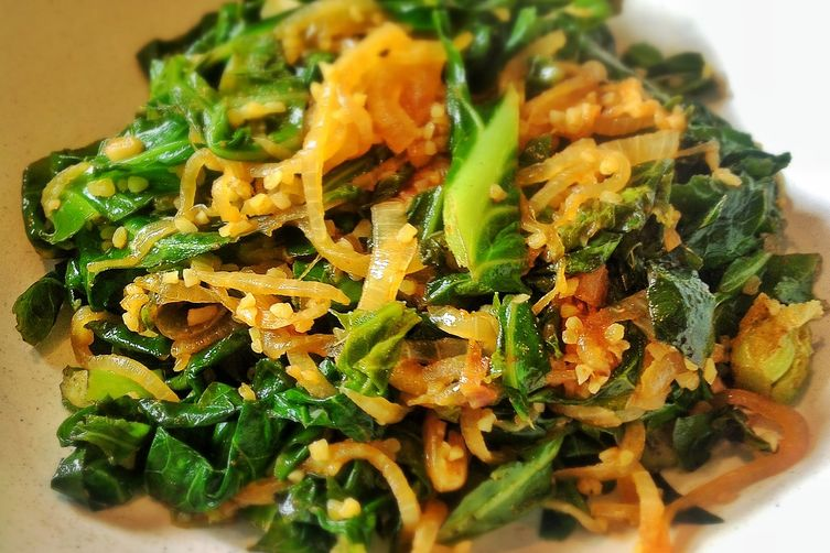 Marshoosheh ~ Lebanese Stir Fried Spring Greens and Bulgar Wheat