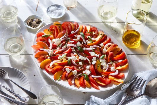 Tomato, Peach, Chèvre, and Herb Salad with Apple Vinaigrette