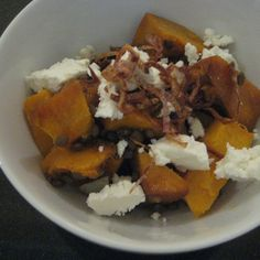 Balsamic Roasted Pumpkin with Goat Cheese, Lentils and Crispy Fried Shallots