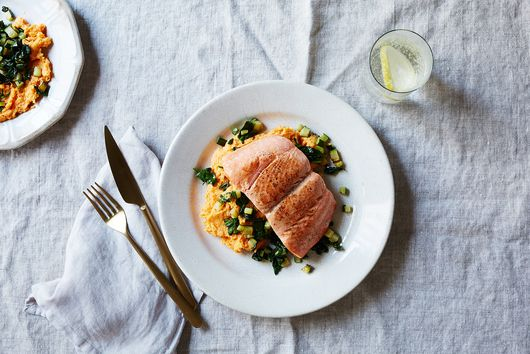 Butter-Basted Salmon with Buttermilk Garlic Mashed Sweet Potatoes