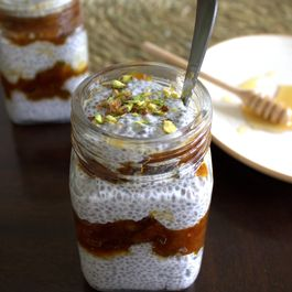 Coconut chia seed pudding with apricot compote