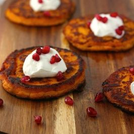 Mashed Sweet Potato and Smoked Gouda Cakes