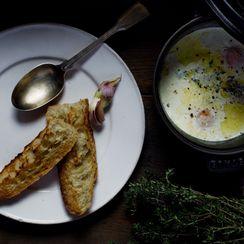 Eggs en Cocotte with Cream, Garlic & Thyme