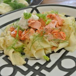 roasted salmon & fennel maltagliati pasta
