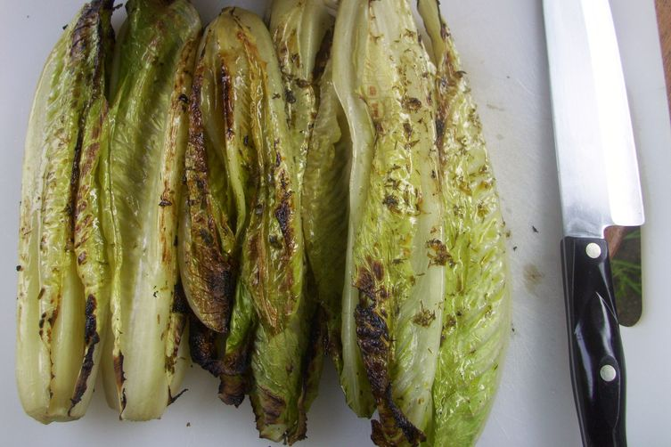 Grilled romaine and sugar snap peas