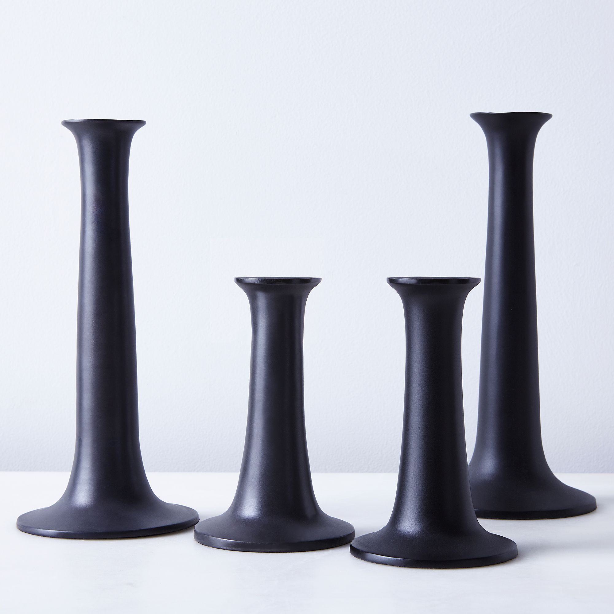 lighting  candles home  food shop - modern black candlesticks (set of )