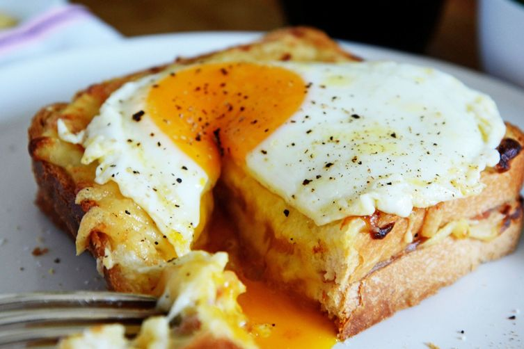 Croque Madame - French-style toasted ham and cheese topped with a fried egg