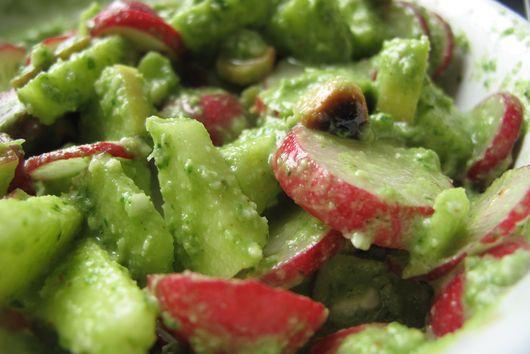 Radish Apple salad with toasted hazelnuts