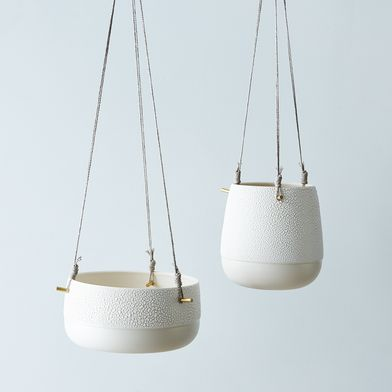 Textured Ceramic and Brass Hanging Planters
