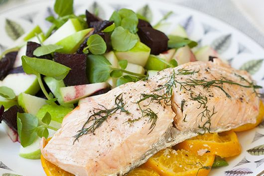 Salmon & clementine en papillote, with balsamic glazed beetroot and apple salad