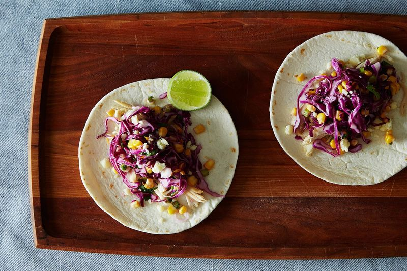 California Chicken Tacos with Corn and Red Cabbage Slaw