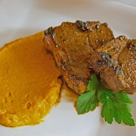 Marinated Lamb Chops On a Bed of Chinese Five Spice Mashed Yams