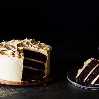 Chocolate Cake with Tahini Buttercream Frosting