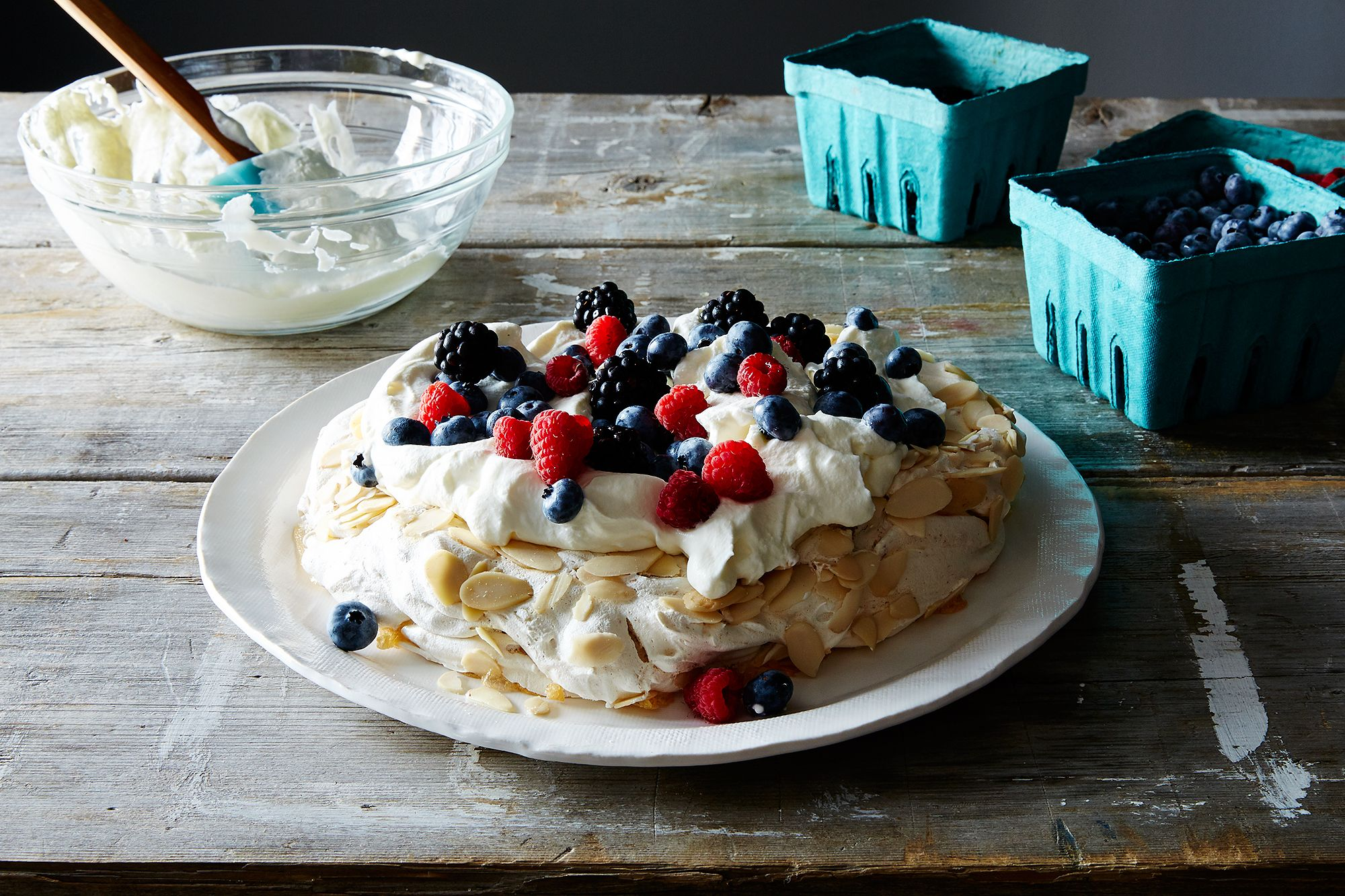 Crunchy Almond Butter Meringue with Berries and Cream Recipe