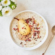 Warming Porridge with Poached Pears and Cacao Nibs