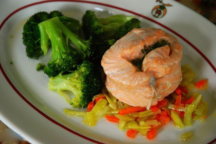 Steamed Salmon Mirepoix