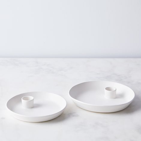 Porcelain Pebble Candleholders
