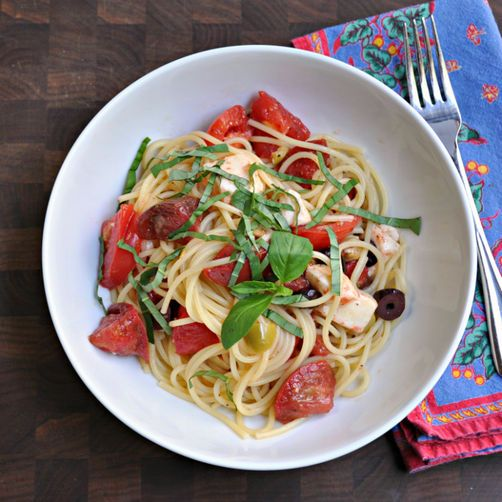 Summer Raw Pasta Sauce with Spaghetti from Food52