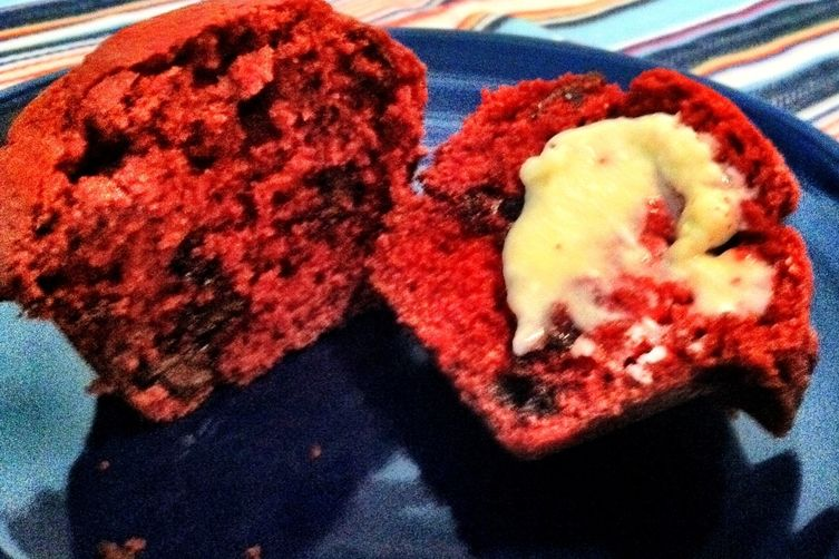 Red Velvet Chocolate Chip Muffins with Creamcheese Butter