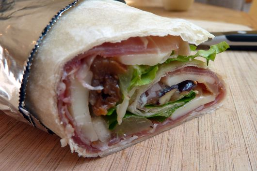 Speck and Provolone Wrap with Fig, Grape and Pear Relish