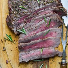 Herb and peppercorn crusted flank steak