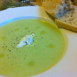 Summer Pea Soup with Lemon-Tarragon Yogurt