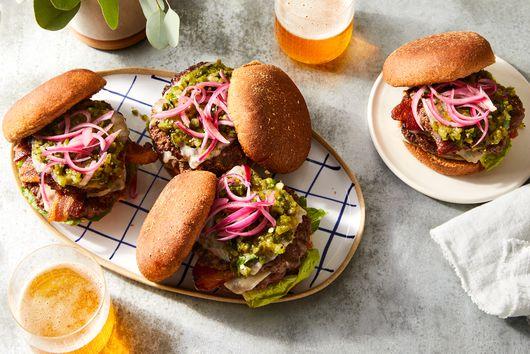 Cheesy Smash Burgers With Bacon & Poblano Salsa