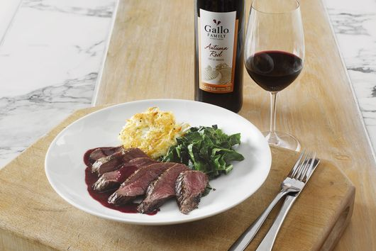 Gallo Family Vineyards Autumn Red's Venison steak with blackberry sauce