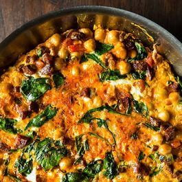 Chickpea, Spinach, and Chorizo Frittata