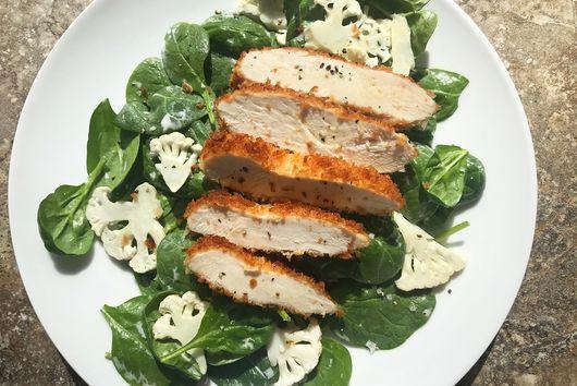 Crispy Chicken Salad With Spinach, Cauliflower & Pickle-Brine Dressing