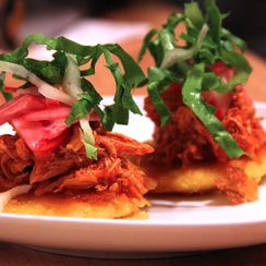 Pulled Chicken on Pan Fried Corn Cakes
