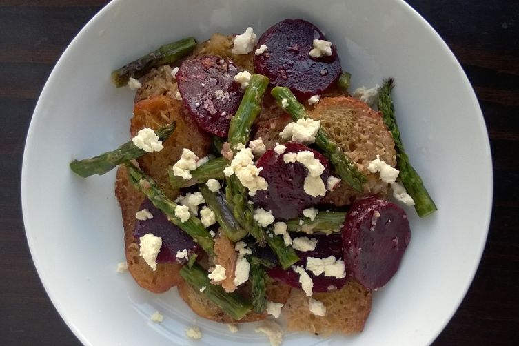 Roasted Asparagus and Beet Panzanella