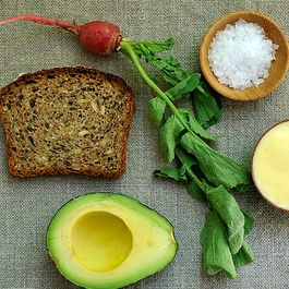 Tartine with Mustard Mayo and Mashed Avocado and Radishes with Butter and Salt