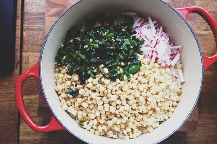 Orzo Salad with Corn and Poblanos
