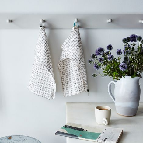 Linen Check Tea Towels (Set of 2)