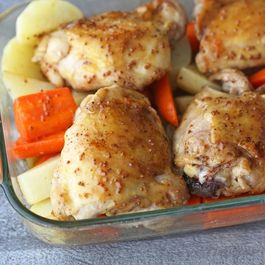 Honey mustard chicken with potatoes and carrots