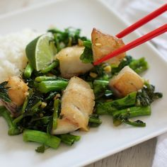 Ginger Fish with Kale & Broccoli Rabe