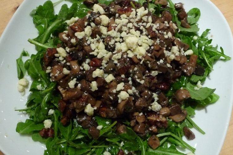 Warm Mushroom Salad with Gorgonzola and Peacns