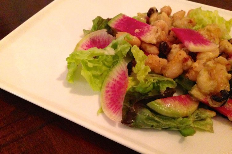 White & Navy Bean Salad with Watermelon Radishes and Lemon-Tahini Dressing