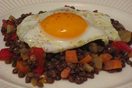 Lentil Salad with Olive Oil Fried Eggs