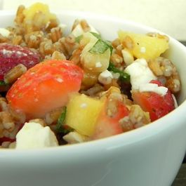 Wheat berry salad with fruit and herbs