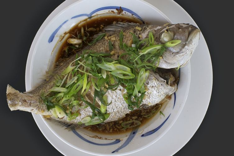 Steamed whole snapper with Soy, Ginger and Spring Onions
