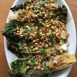 78f9a46e 7cbe 4740 a409 2f45b725b106  grilled romaine spears with roast corn and anchovy dressing