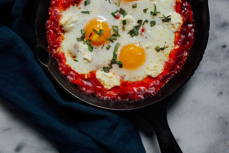 Spicy Shakshuka with Goat Cheese